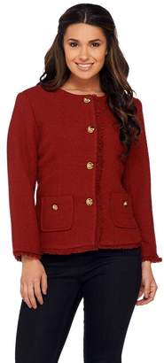 Joan Rivers Classics Collection Joan Rivers Boucle Jacket w/ Self Fringe and Bracelet Sleeves