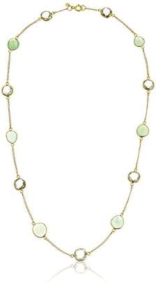 Amethyst and Chrysoprase Bezel Station Gold-Plated Sterling Silver Chain Necklace