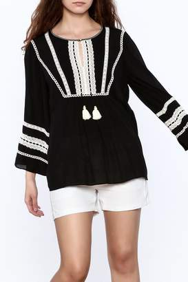 Hale Bob Black Embroidered Tunic Top