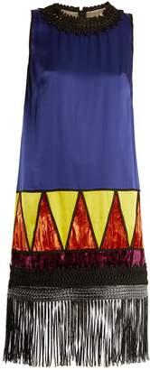 Andrew Gn Fringed-hem contrast-panel satin dress