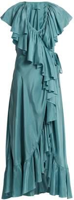 LOUP CHARMANT Callela ruffled silk wrap dress