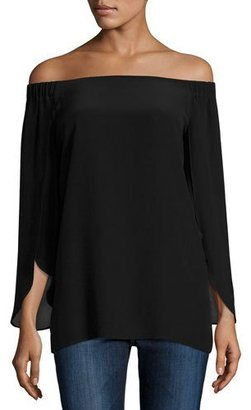 Bailey 44 Trainspot Off-the-Shoulder Top, Black $198 thestylecure.com