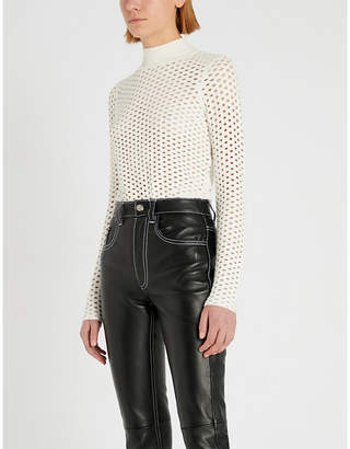 26fa535ebbe7 Sandro Perforated stretch-knit jumper