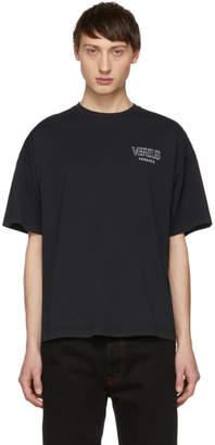 Versus Black Embroidered Vintage Logo T-Shirt