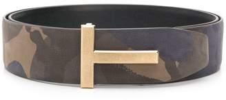 Tom Ford camouflage T logo belt