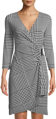 Iconic American Designer 3/4-Sleeve Houndstooth-Check Wrap Dress