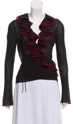 Christian Dior Ruffle-Accented Silk Blouse Black Ruffle-Accented Silk Blouse