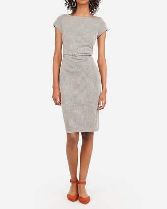Express Houndstooth Belted Seamed Sheath Dress