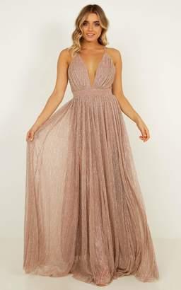 Showpo Simply Perfection maxi dress in blush lurex mesh - 8 (S) Formal