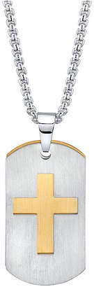 "He Rocks Double Tag Cross Pendant Necklace in Stainless Steel, 24"" Chain"