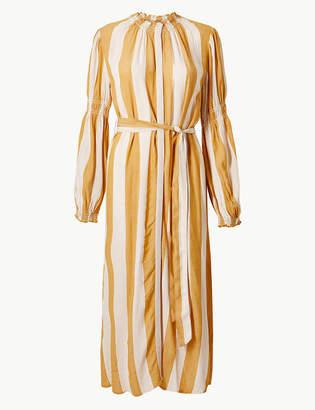 Marks and Spencer Striped Tie Waist Midi Shirt Dress
