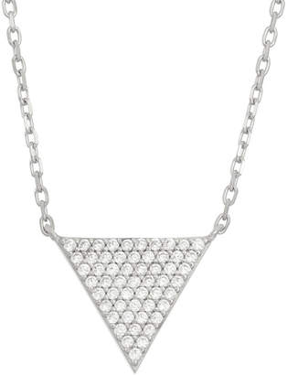 FINE JEWELRY Diamonart Womens 5/8 CT. T.W. White Cubic Zirconia Sterling Silver Triangle Pendant Necklace