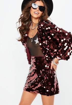 Missguided Purple Large Disc Sequin Cropped Jacket