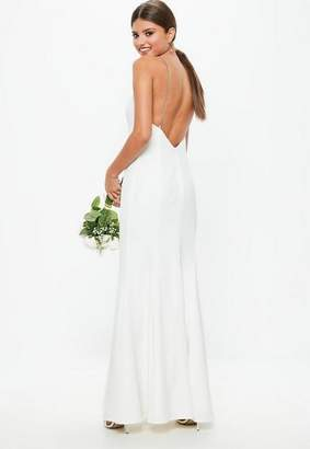 Missguided Bridal White Diamante Strap Maxi Dress