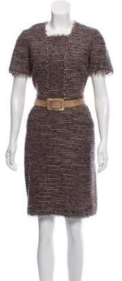 Oscar de la Renta Bouclé Belted Dress Brown Bouclé Belted Dress
