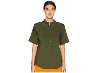 Jil Sander Navy Short Sleeve Shirt w/ Korean Neckline