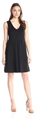 Lark & Ro Women's V-Neck Flap Fit and Flare Dress