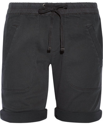 James Perse - Stretch Cotton And Modal-blend Twill Shorts - Charcoal $155 thestylecure.com