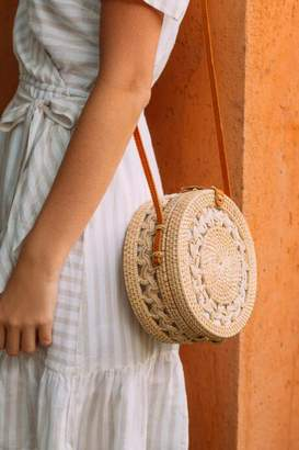 francesca's Ophelia Braided Rattan Crossbody in Natural - Tan
