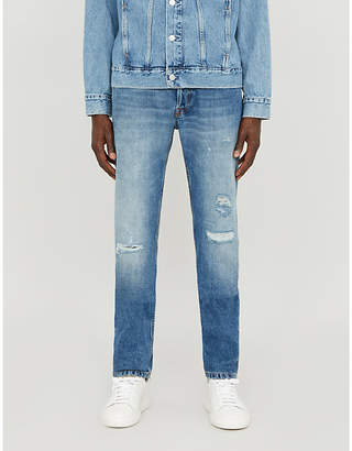 Eleventy Faded ripped tapered jeans