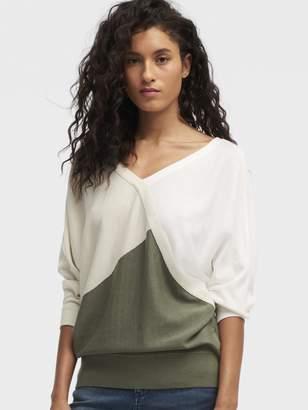 DKNY Colorblock V-Neck Sweater