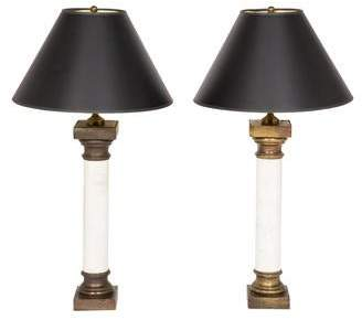Pair of Marble Columnar Table Lamps