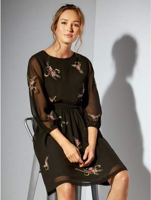 M&Co Floral embroidered fit and flare dress