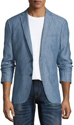 John Varvatos Star USA Thompson Striped Two-Button Soft Jacket, Medium Blue $398 thestylecure.com