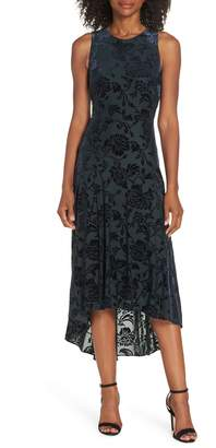 Vince Camuto Burnout Velvet High/Low Dress