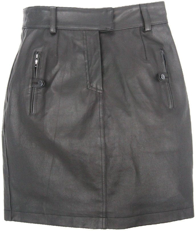 Proenza Schouler Leather Skirt w/ Button Pocket