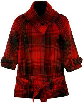 Red Plaid Funnel Neck Jacket