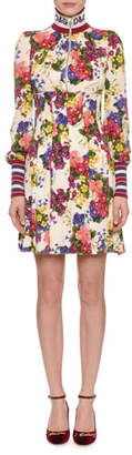Dolce & Gabbana Mock-Neck Zip-Front Long-Sleeve Floral-Print Jersey Dress w/ Ribbed Trim
