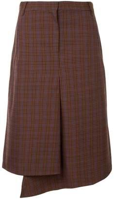 Tibi check drape pencil skirt