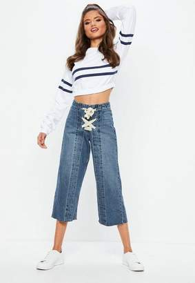 Missguided Blue High Waist Lace Up Front Cropped Wide Leg Jeans