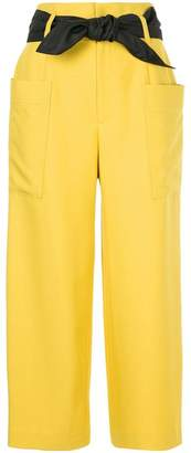 GUILD PRIME belted cropped trousers