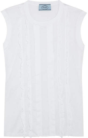 Prada - Ruffled Paneled Cotton-poplin And Jersey Top - White