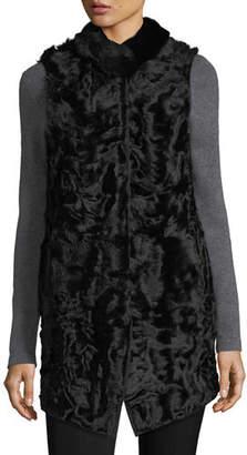 Belle Fare Long Shearling Button-Front Reversible Wool Vest