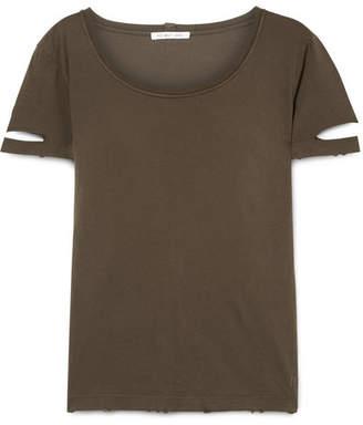 Helmut Lang Cutout Cotton-jersey T-shirt - Army green