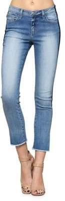 Flying Monkey Racer Side Stripe Cropped Skinny Jeans
