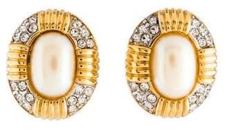 Nina Ricci Faux Pearl & Crystal Clip-On Earrings