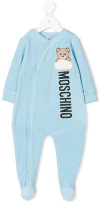 Moschino Kids Teddy logo print velour pajamas