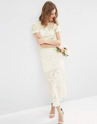 ASOS BRIDAL Lace Burn Out Maxi Dress $376 thestylecure.com