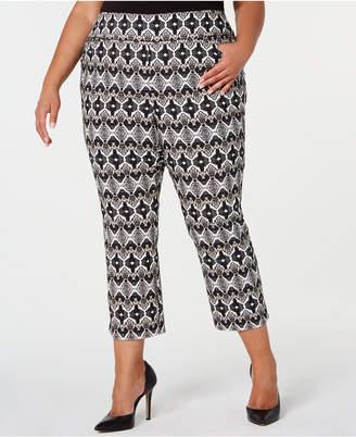INC International Concepts I.n.c. Plus Size Printed Cropped Skinny Pants