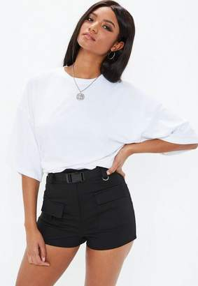 Missguided Black Seatbelt Detail Cargo Shorts