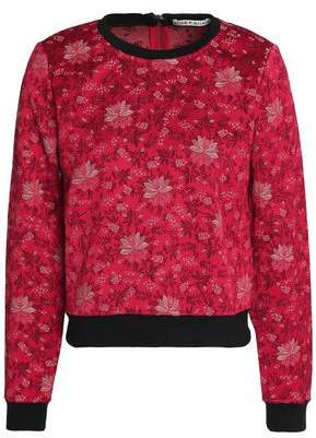Alice + Olivia Marylou Floral-Jacquard Sweatshirt