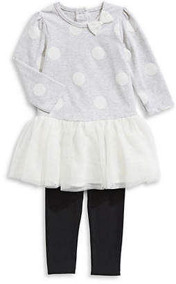 Little Me Baby Girl's Two-Piece Polka Dot Dress Cotton Leggings Set