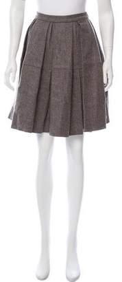 RED Valentino Wool Pleated Knee-Length Skirt