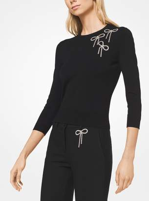 Michael Kors Bow Embroidered Stretch-Viscose Pullover