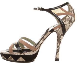 pradaPrada Snakeskin Platform Sandals