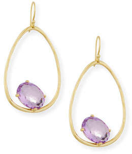 Ippolita 18K Rock Candy Tipped Oval Wire Earrings in Amethyst